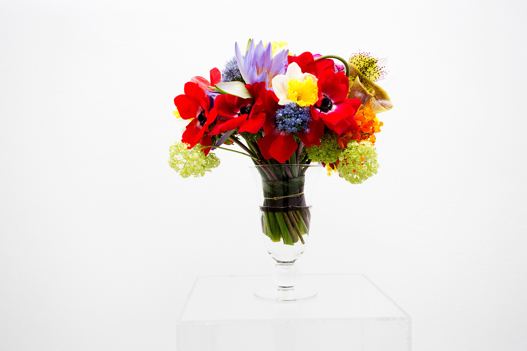 Multicolored flowers in clear vase by Caroline Bailly