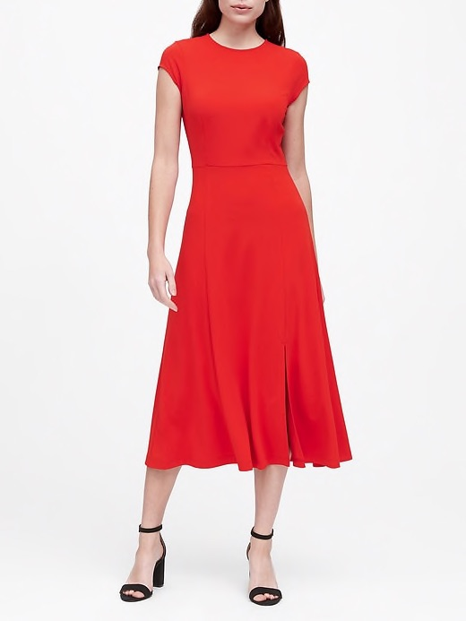 banana republic soft ponte red midi dress
