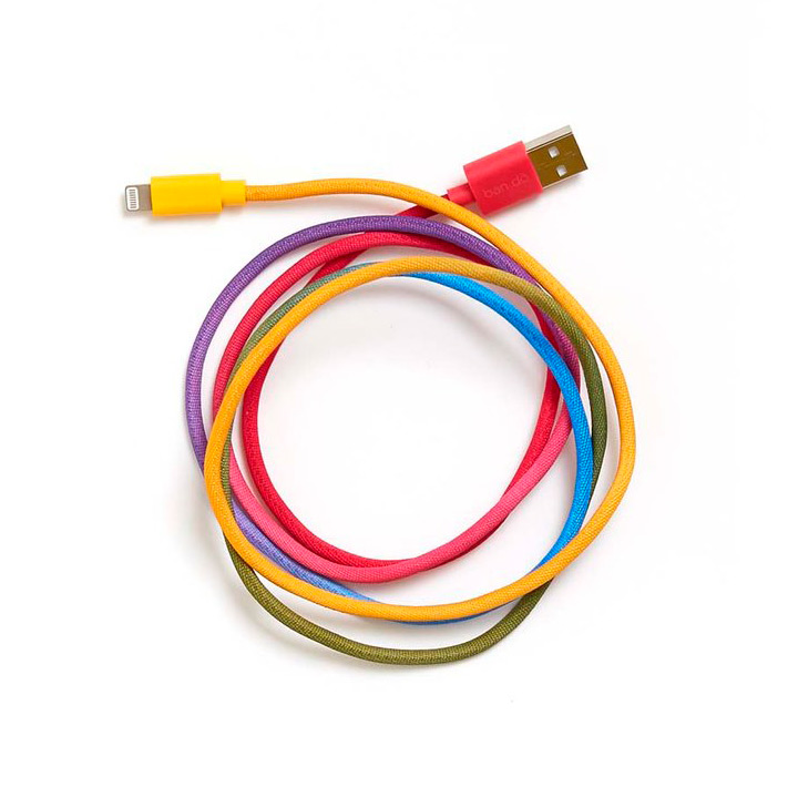 rainbow colored phone charging cord