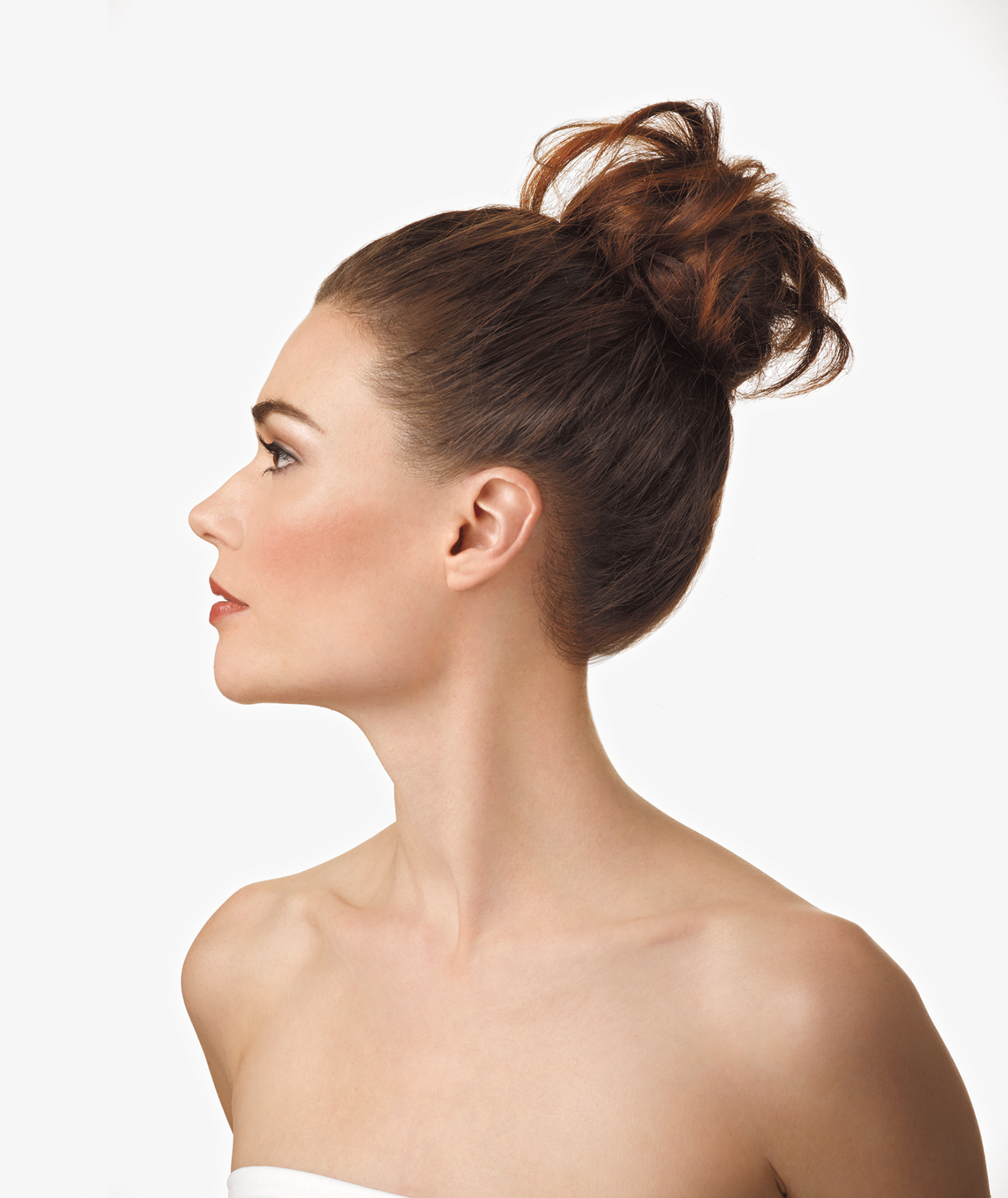 Woman with topknot