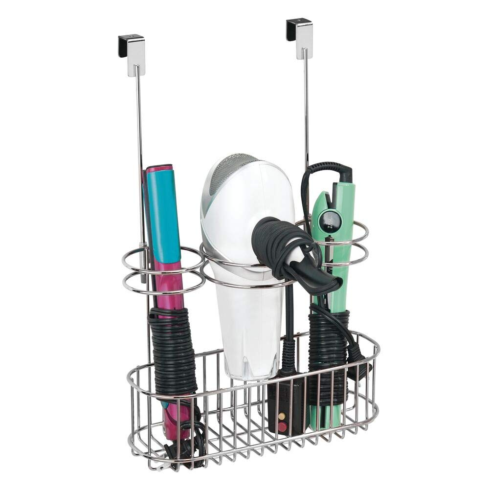 Bathroom organizers, metal hair tool holder