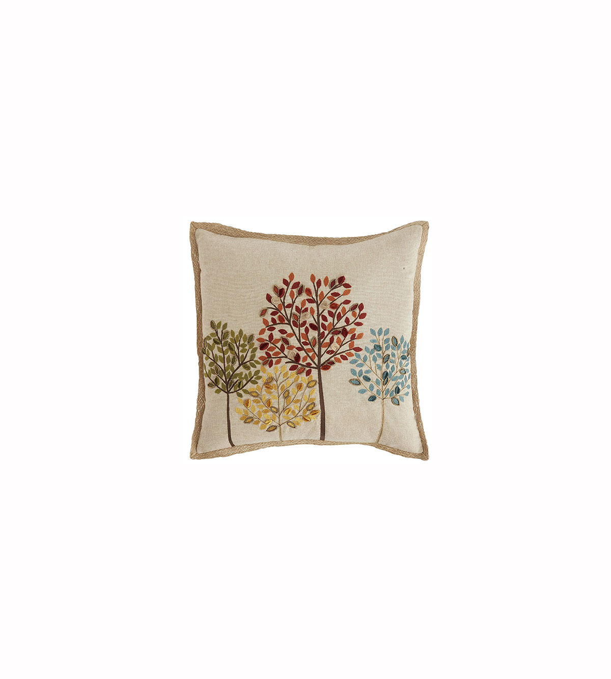 Beaded and Embroidered Trees Pillow