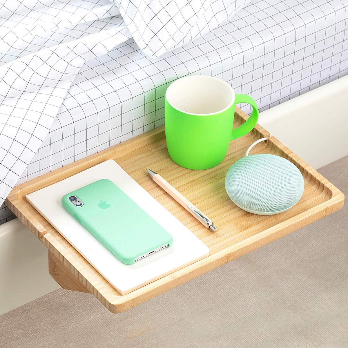 Wood bedside shelf that attaches to side of bed