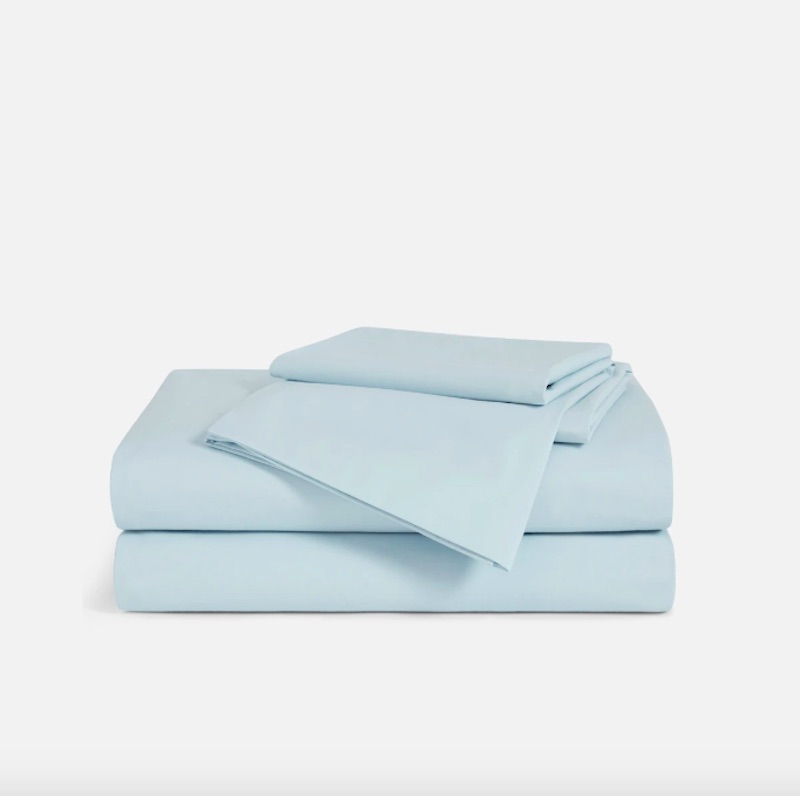 Best sateen bed sheets, pale blue