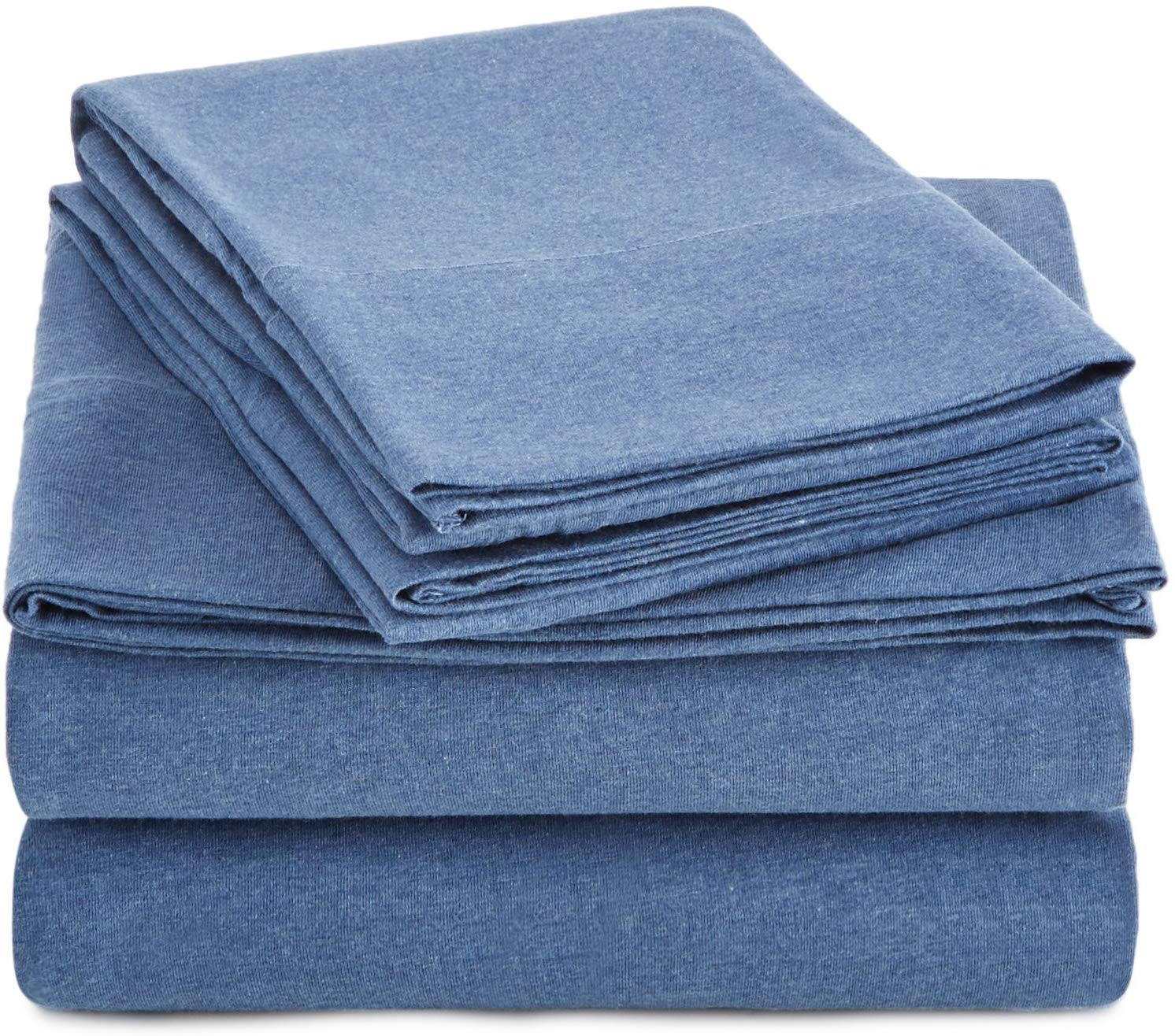 Blue jersey cotton bed sheets