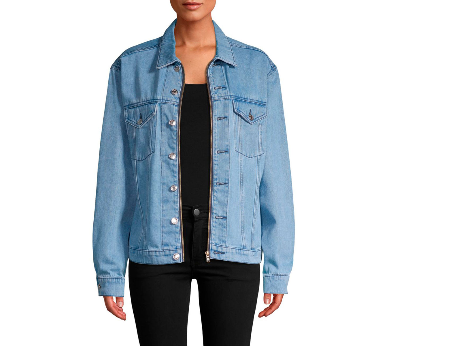 overized denim jacket with silver buttons