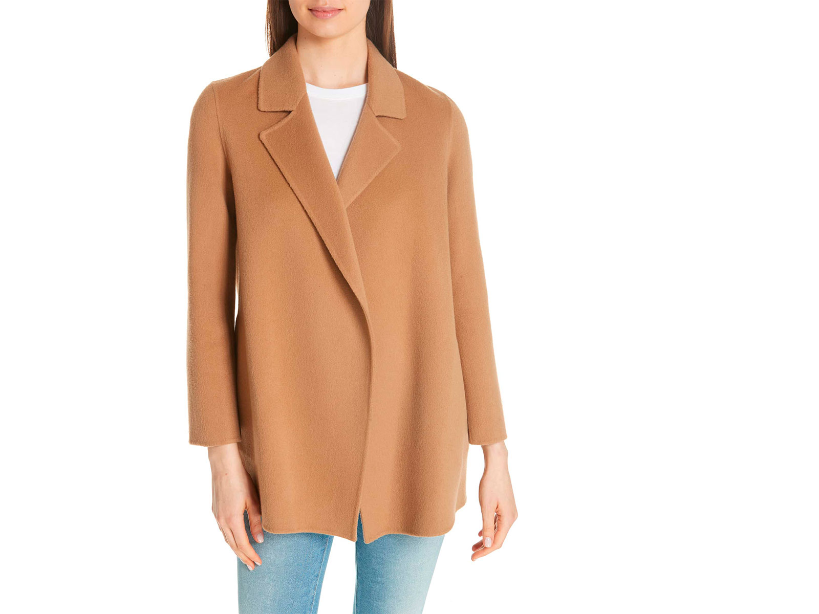 theory camel colored wool coat