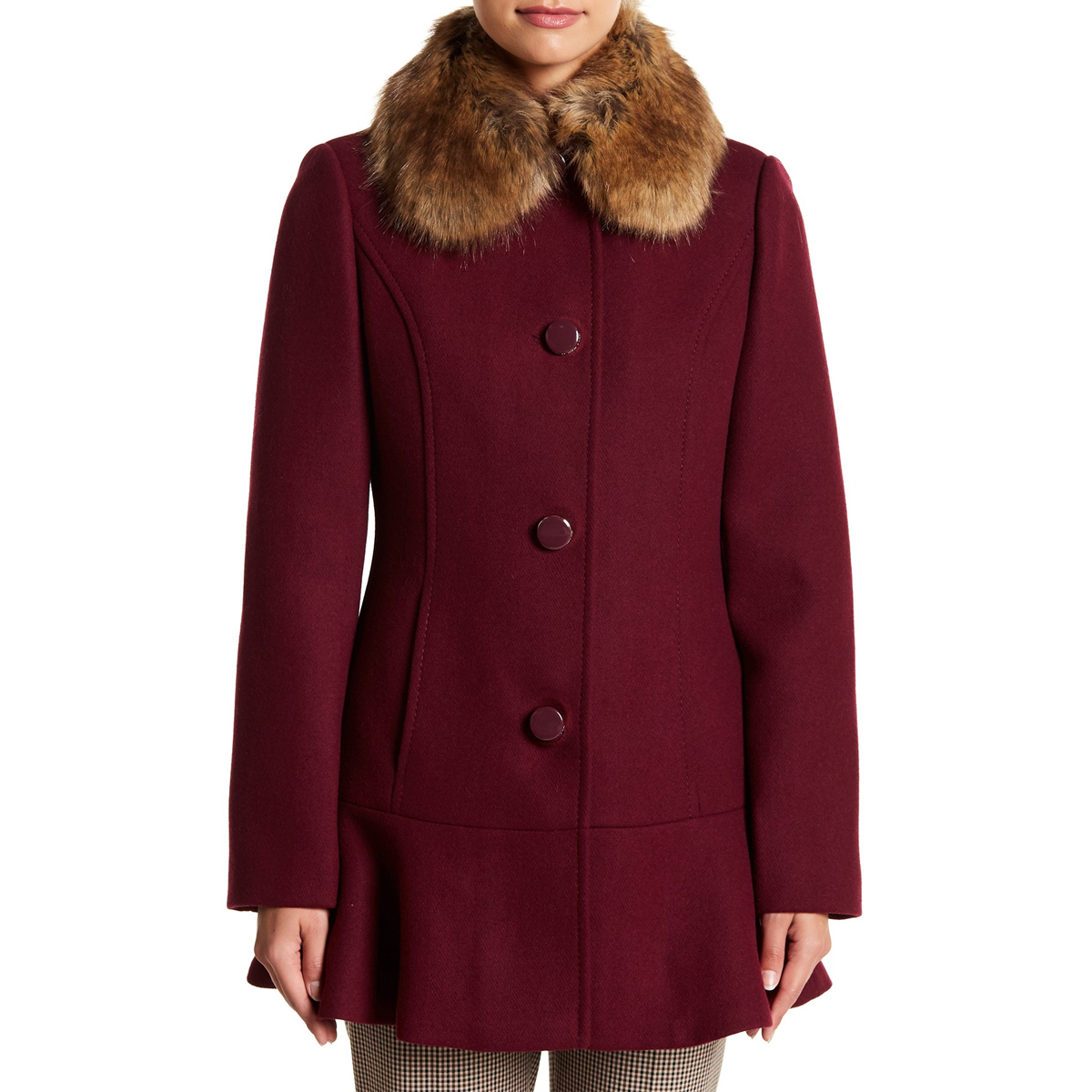 Kate Spade New York Faux Fur Collar Wool Blend Flounce Coat