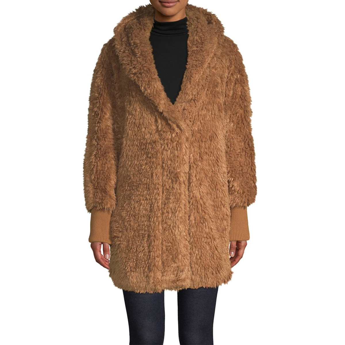 Sage Long Faux-Fur Teddy Coat