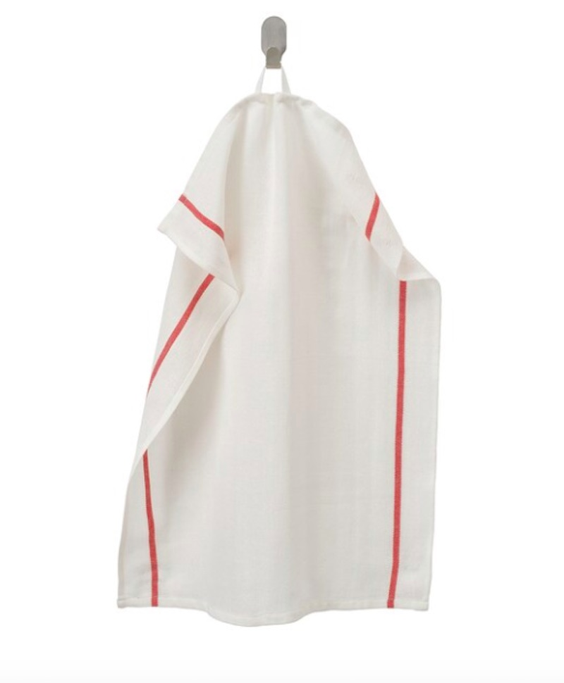 TEKLA dish towels in white and red stripe