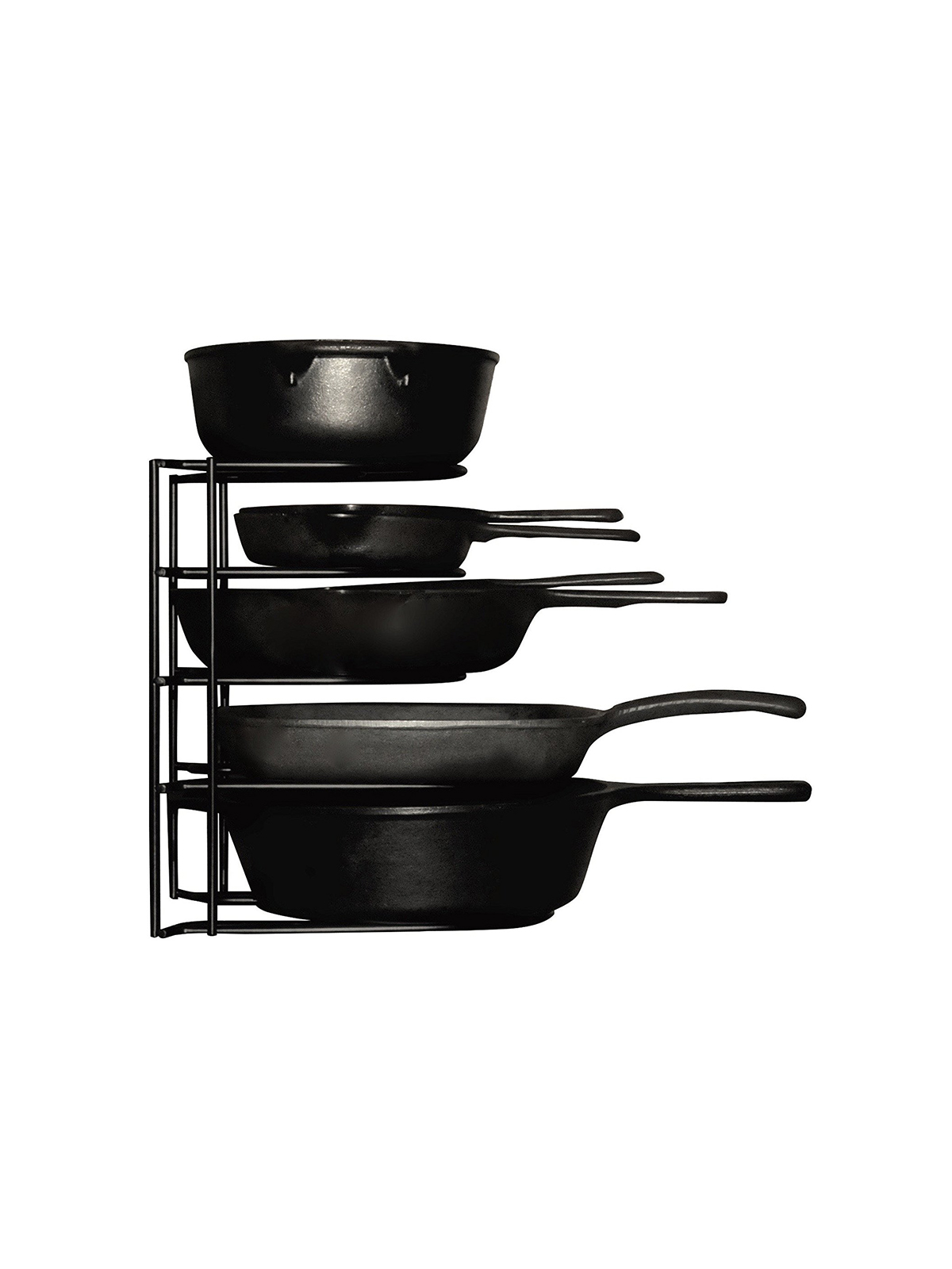 Black metal pot and pan rack