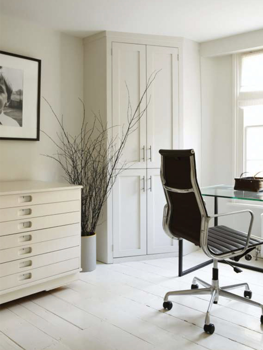 Farrow & Ball all white paint in sitting room