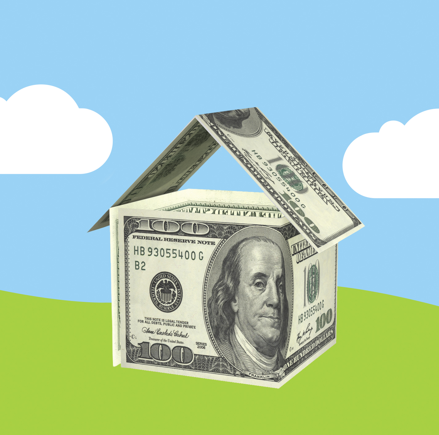 Illustration: house made from money