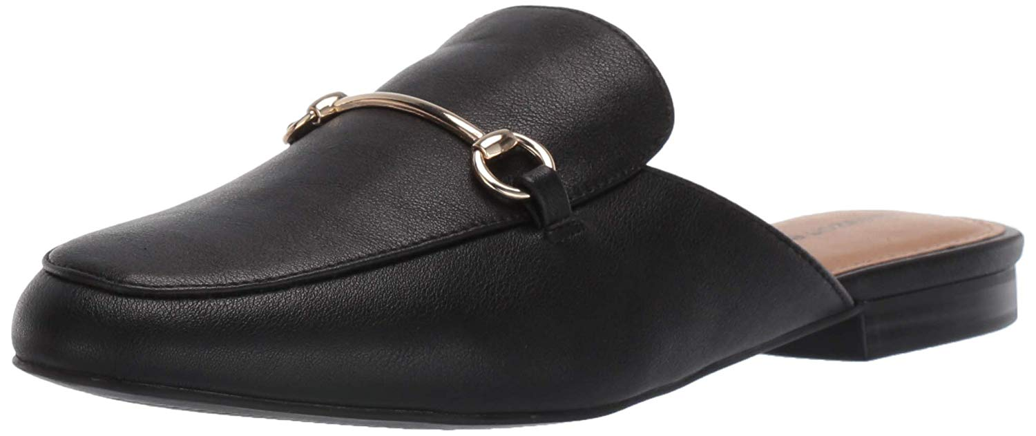 black slip-on mules with buckle detailing