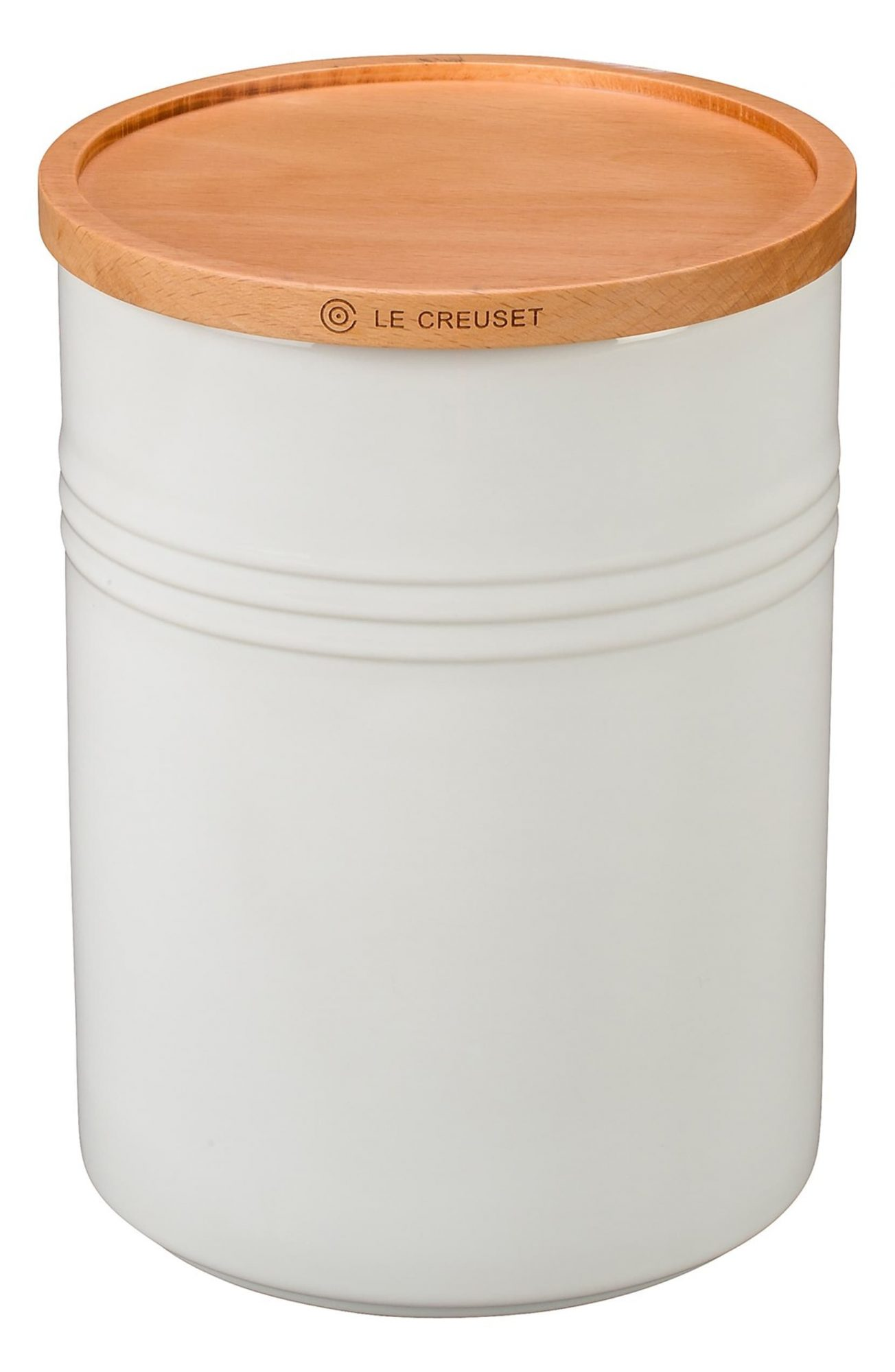 Le Creuset Kitchen Canister in white and wood