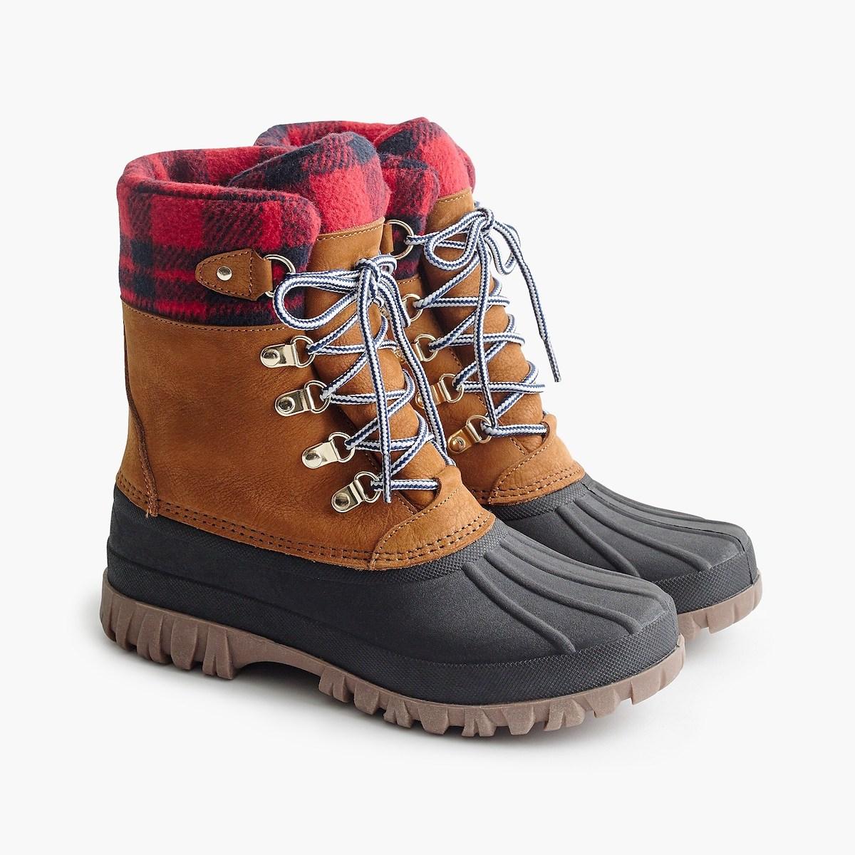 Black Friday shoe sale, winter boots in red plaid from J.Crew