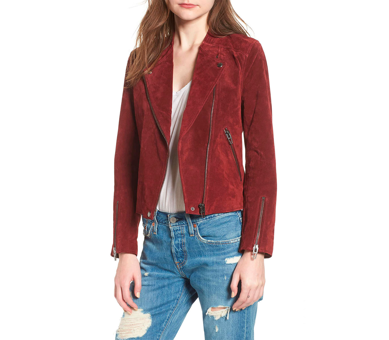 ruby red suede moto jacket