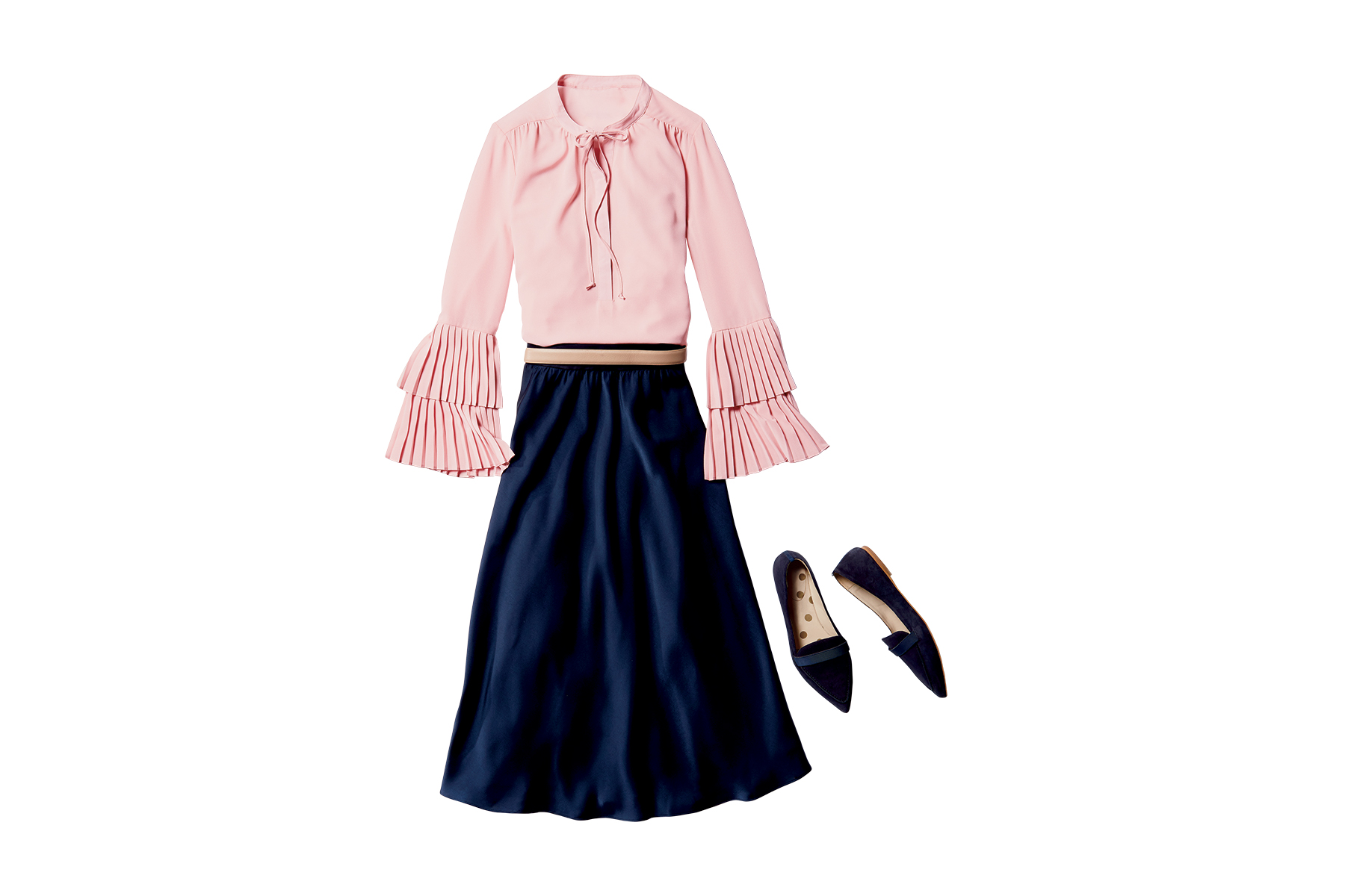 Blouse + Skirt + Flats