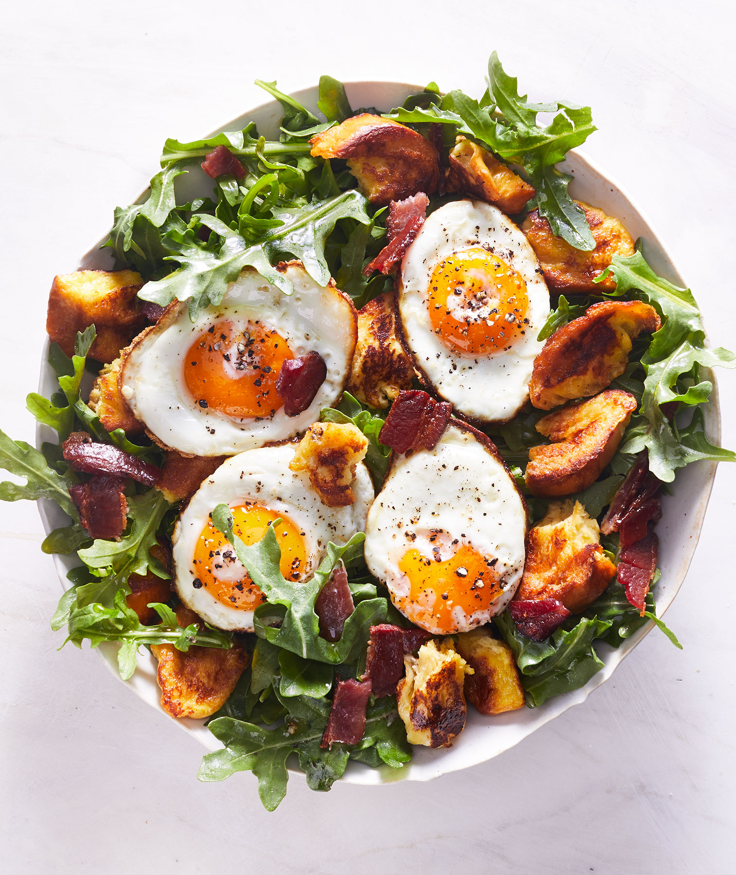 Breakfast Salad With French Toast Croutons