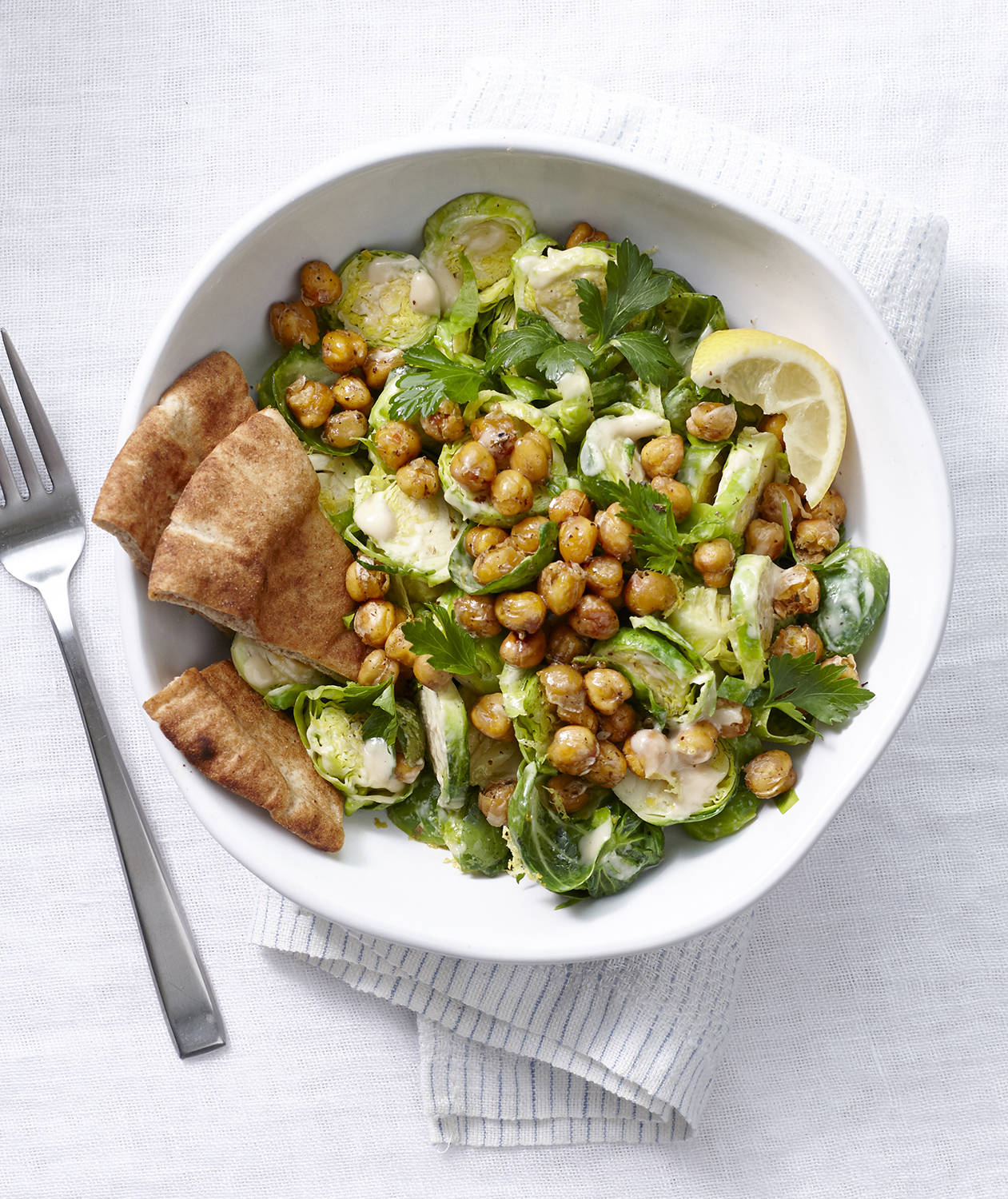 Mediterranean Brussels Sprouts Salad with Crispy Chickpeas