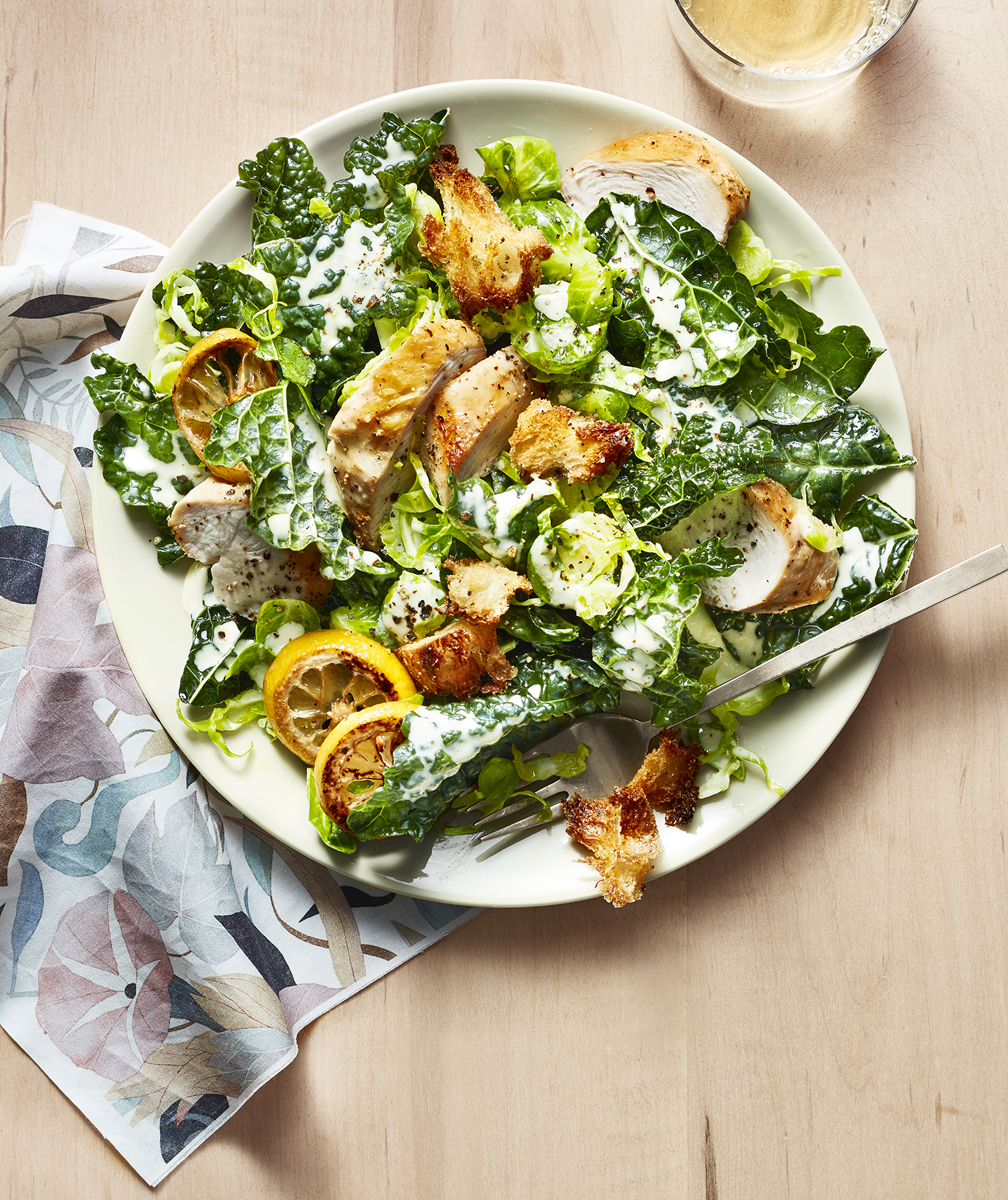 Shaved Brussels Sprouts and Kale Salad With Creamy Tahini Dressing