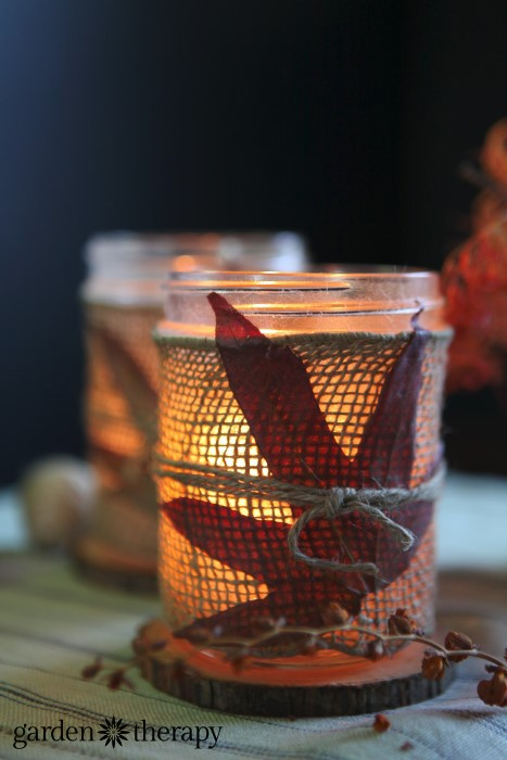 Fall Leaves and Burlap Candles