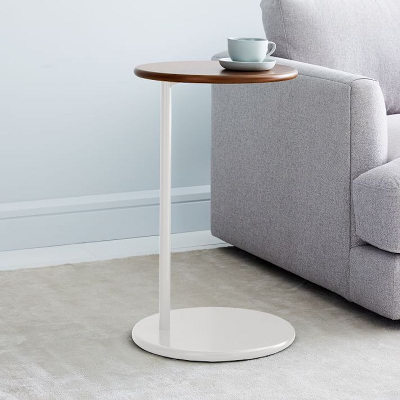 C-side table with white top and wood base