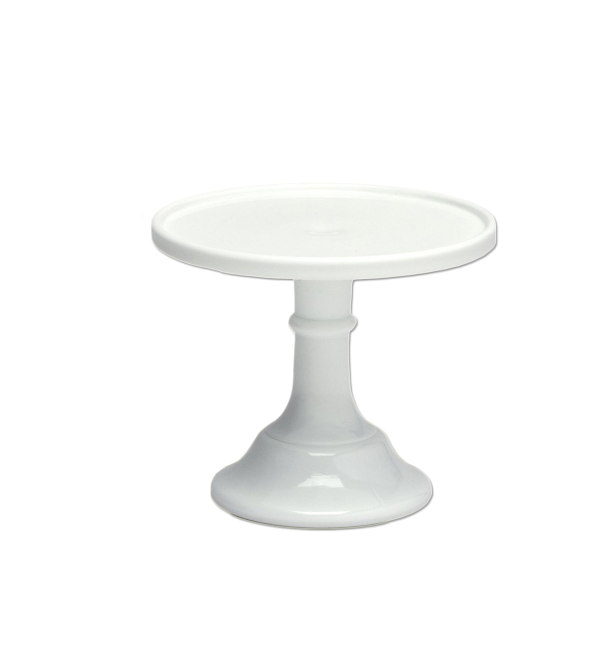 White Milk Glass Cake Stand, Turned Countertop Organizer