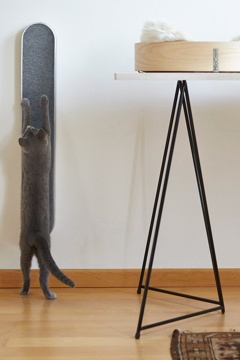 wall-hanging charcoal gray scratching post