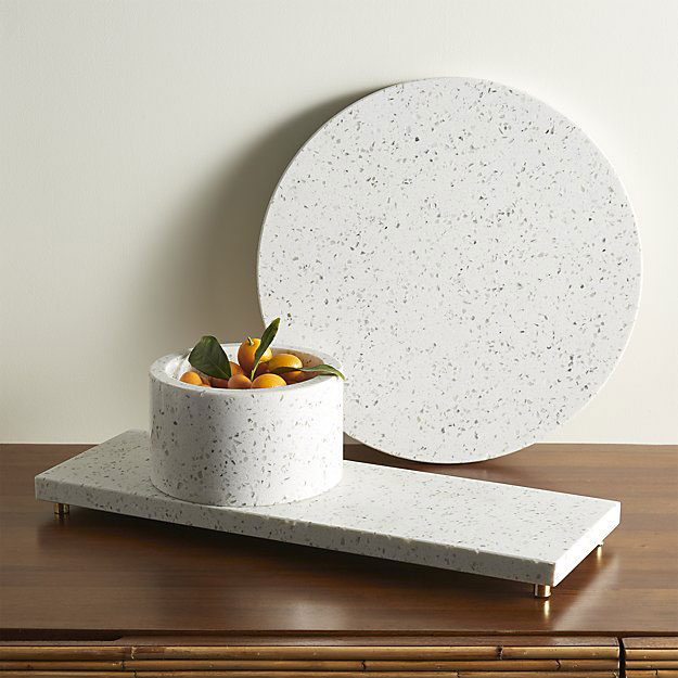 White stone serving pieces