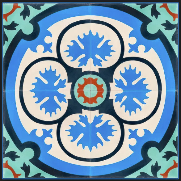 MeaLu Victorian Encaustic 8x8 in. Cement Field Tile in Turquoise/Blue/White, $21.88/sq. ft.; wayfair.com.