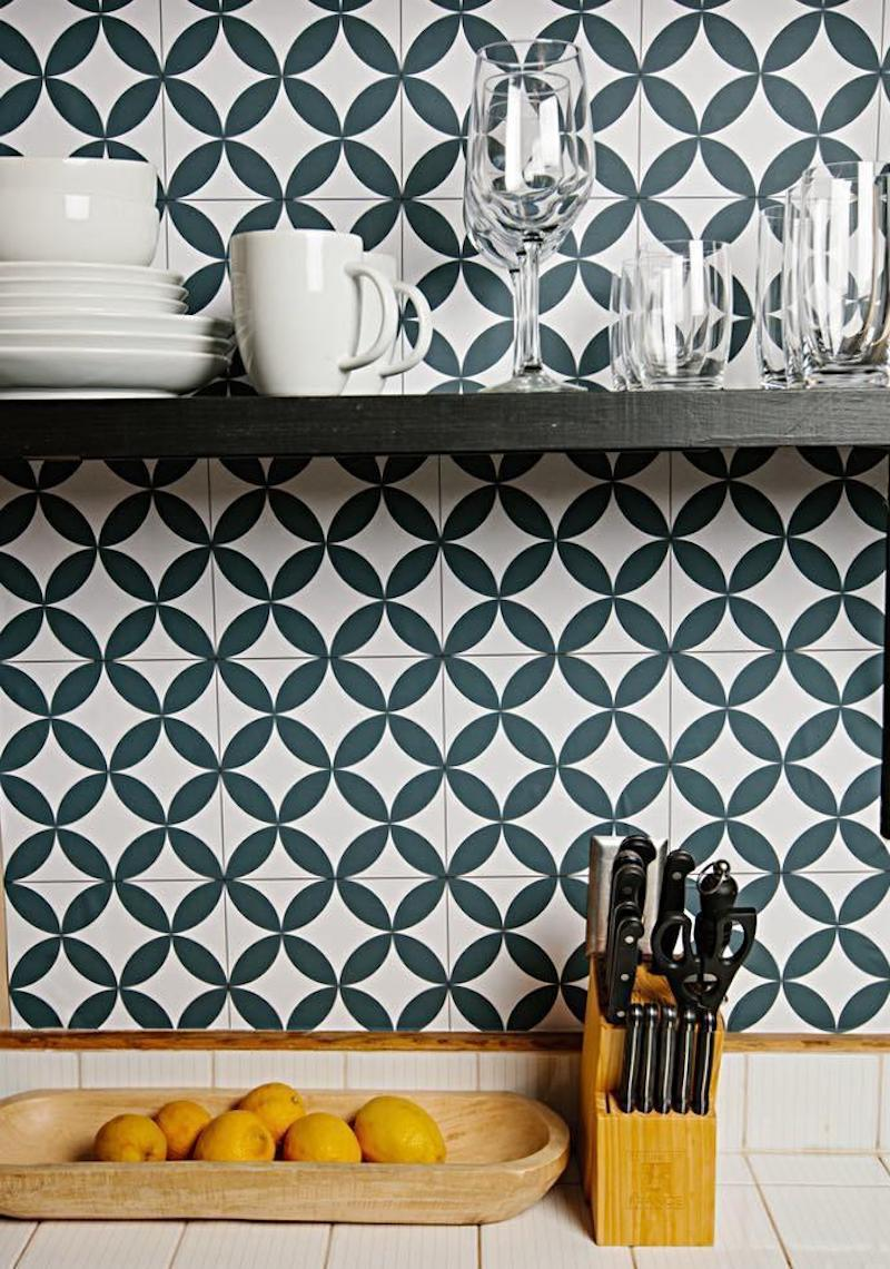 Chasing Paper Tile in Kitchen with shelves