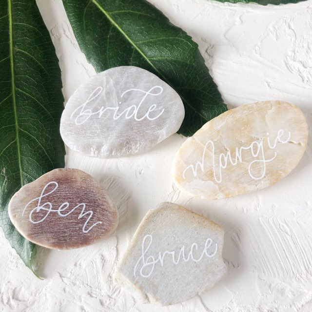 Stone and calligraphy place cards for table setting ideas