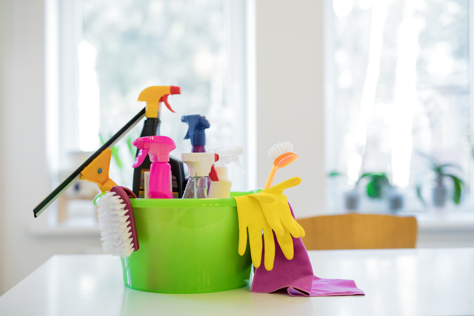 Cleaning Bedroom Supplies Caddy on kitchen counter