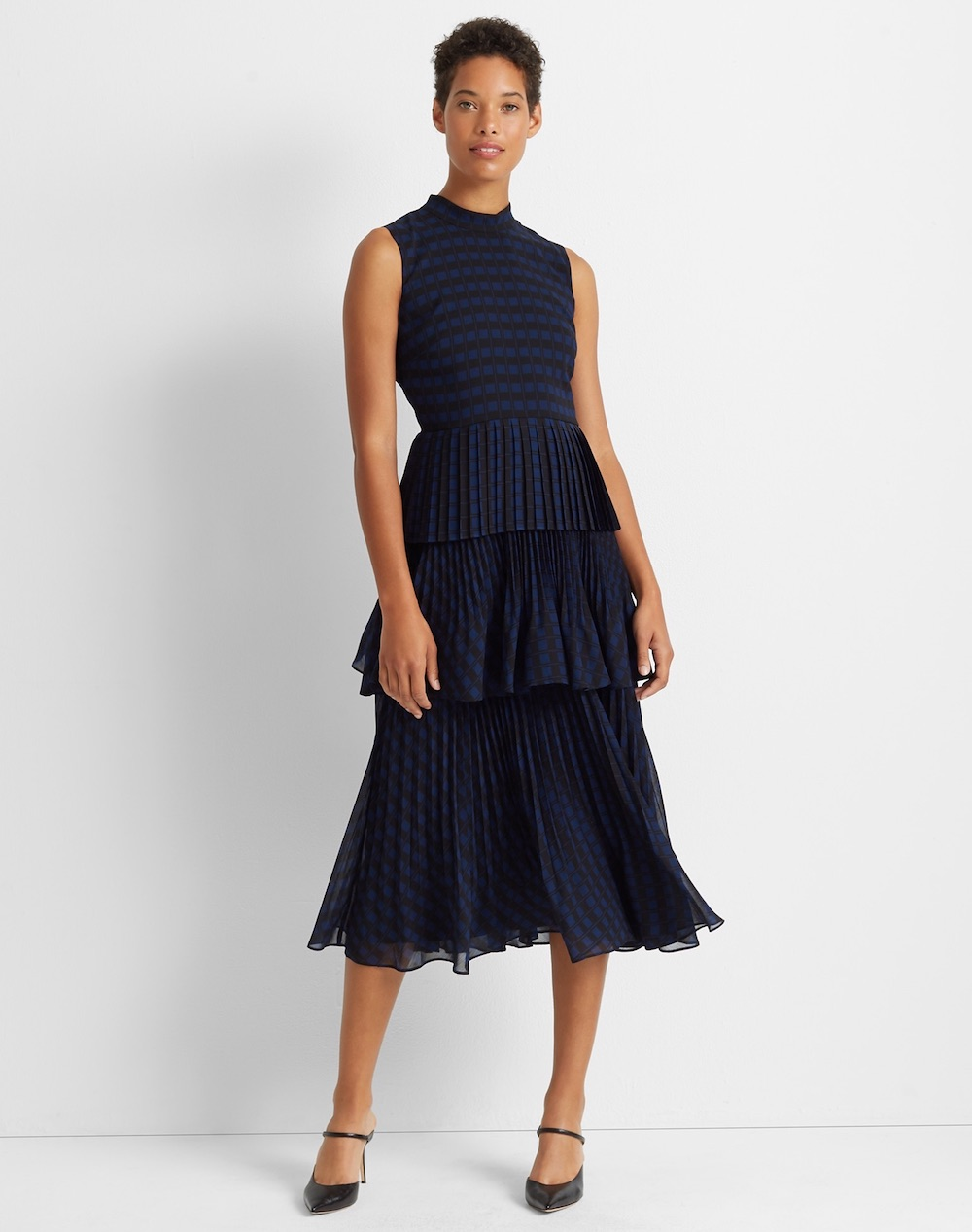 club monaco tiered pleated midi dress