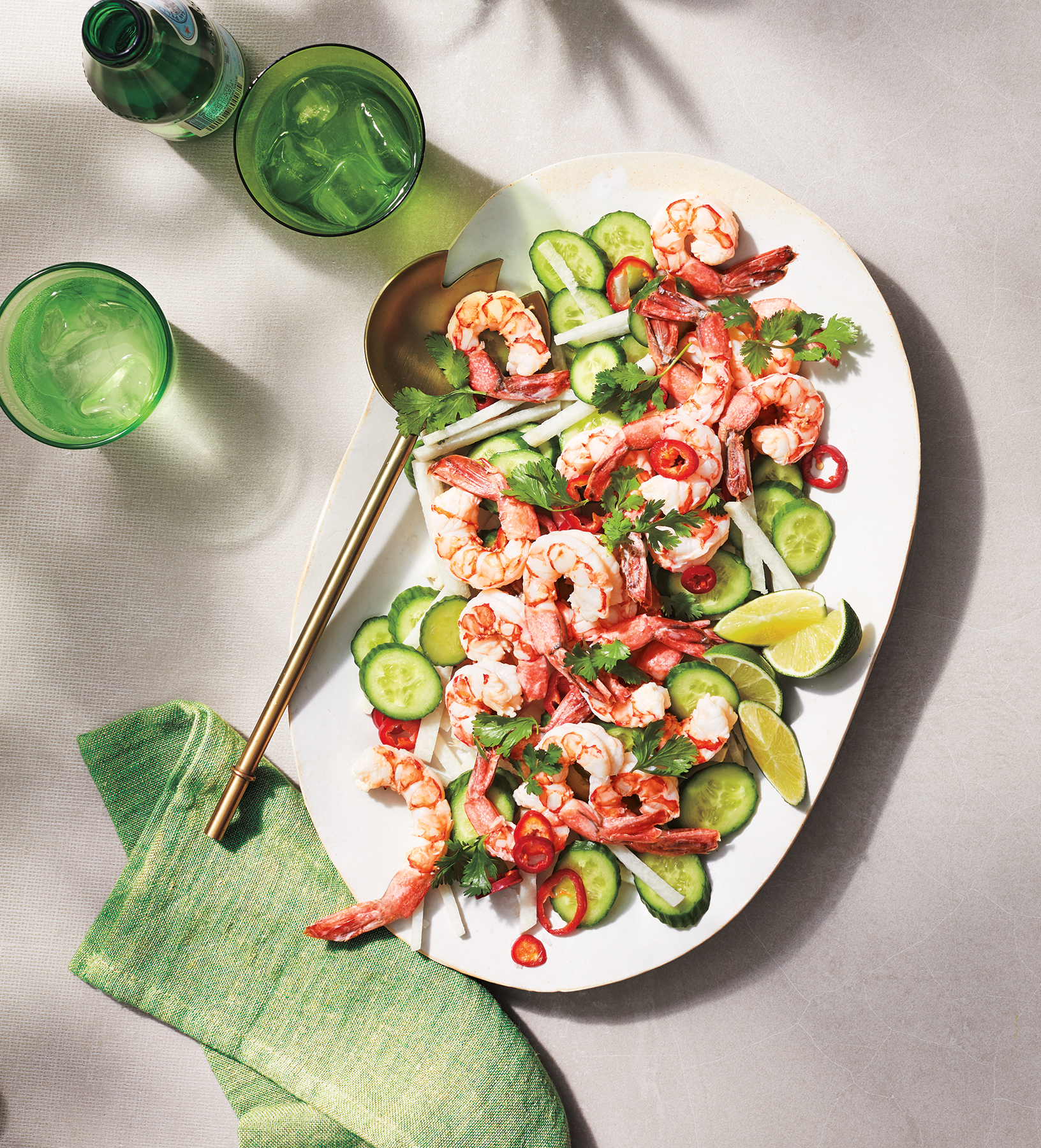 Coconut-Marinated Shrimp With Cucumber and Jicama