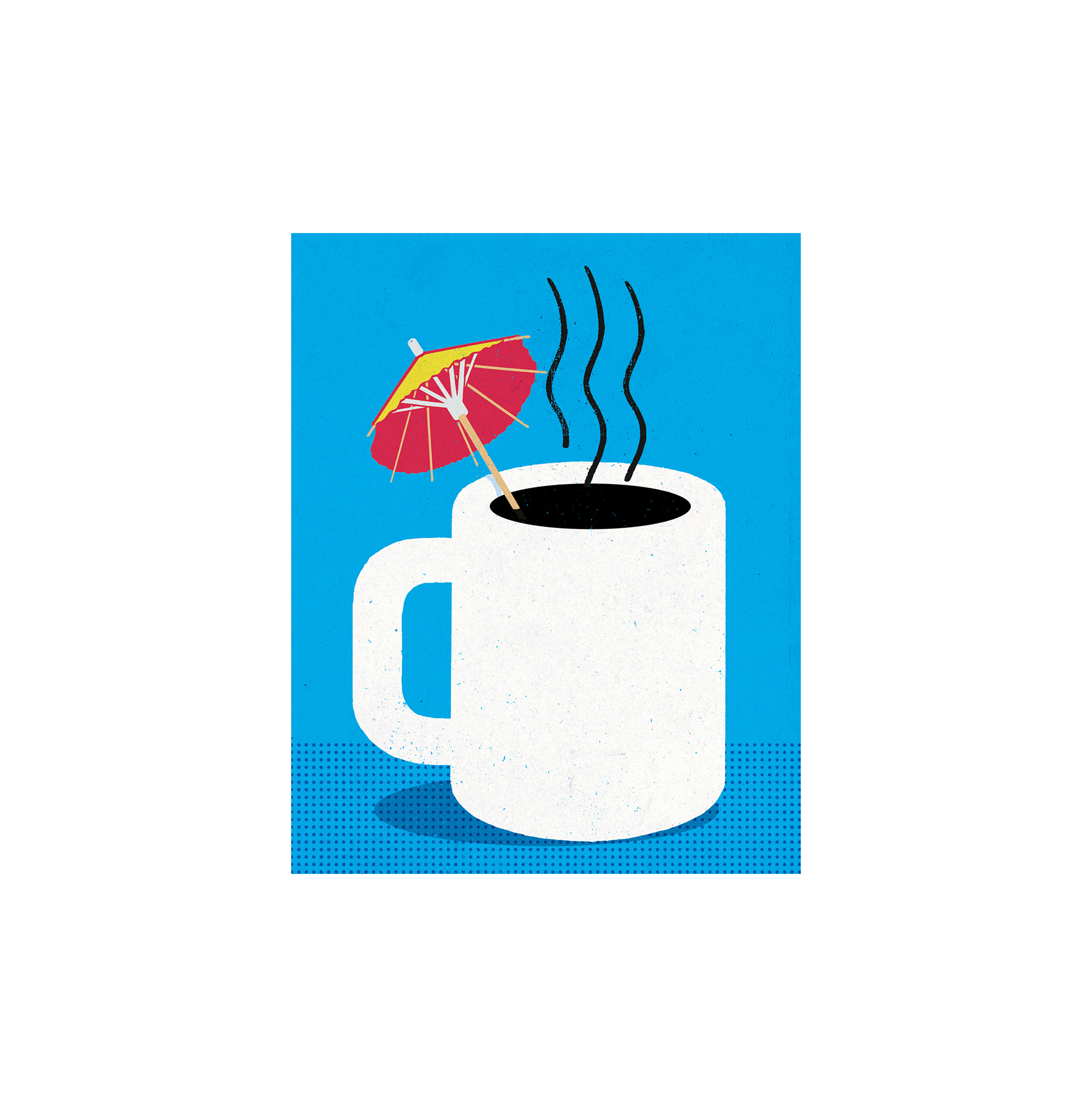 Illustration: coffee cup with a drink umbrella