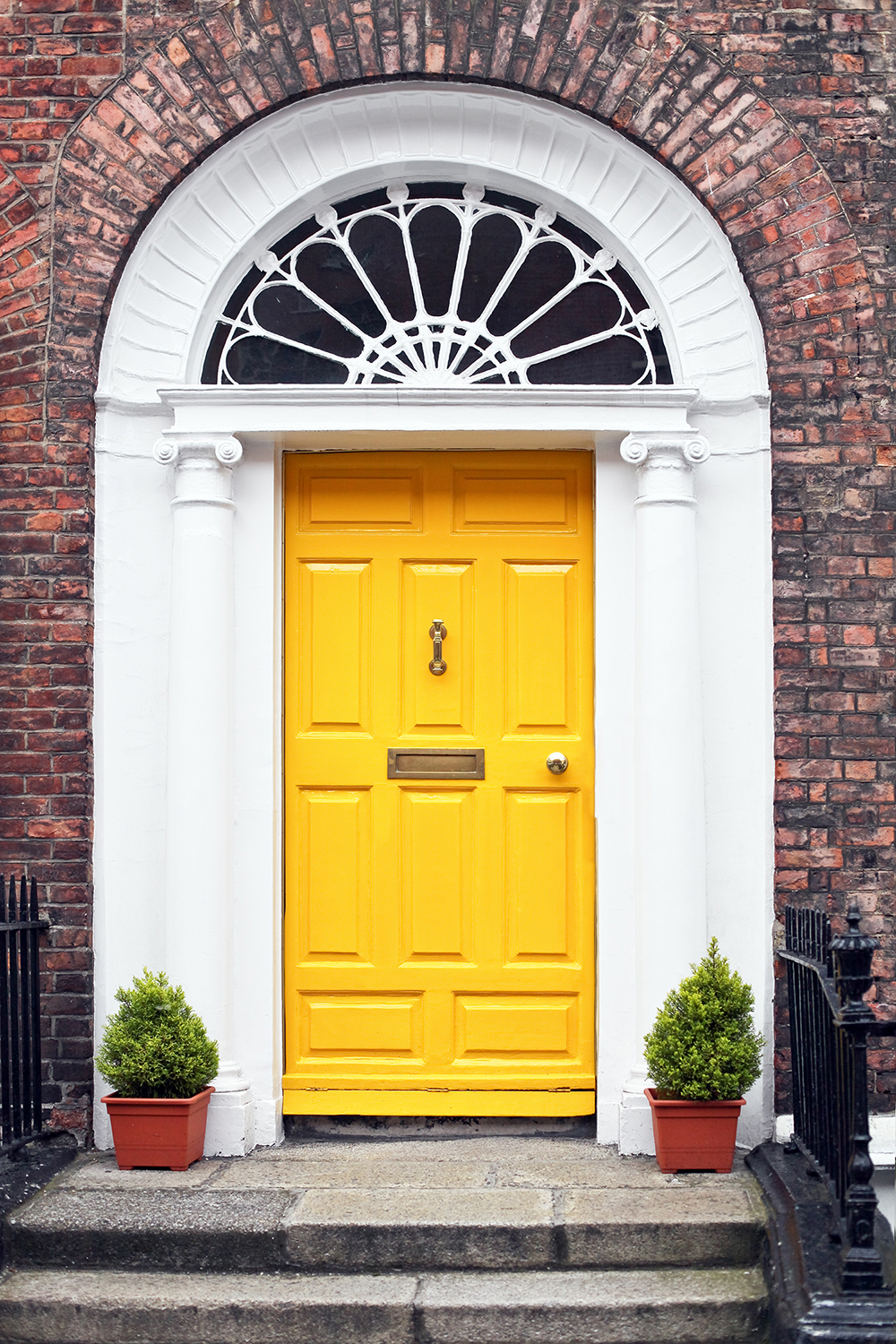 Colorful Yellow Front Door For Fall