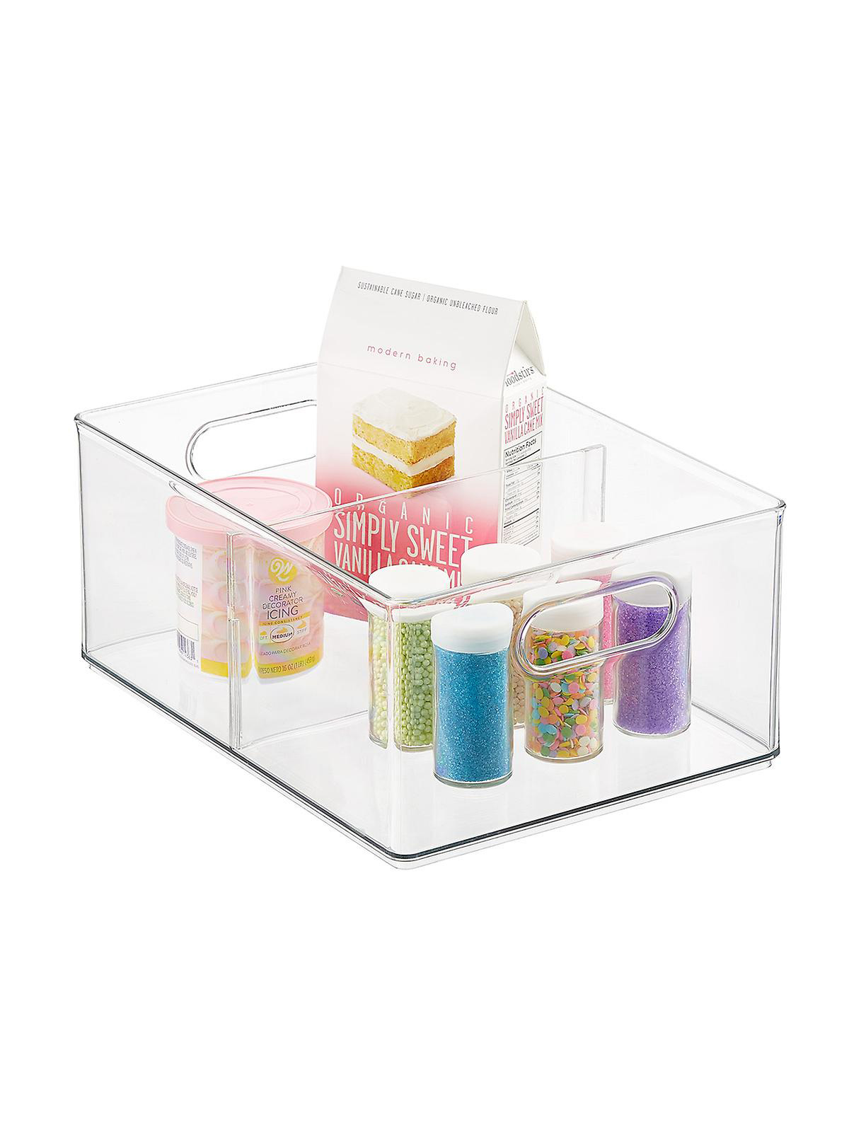 The Home Edit Container Store, clear storage bin with dividers
