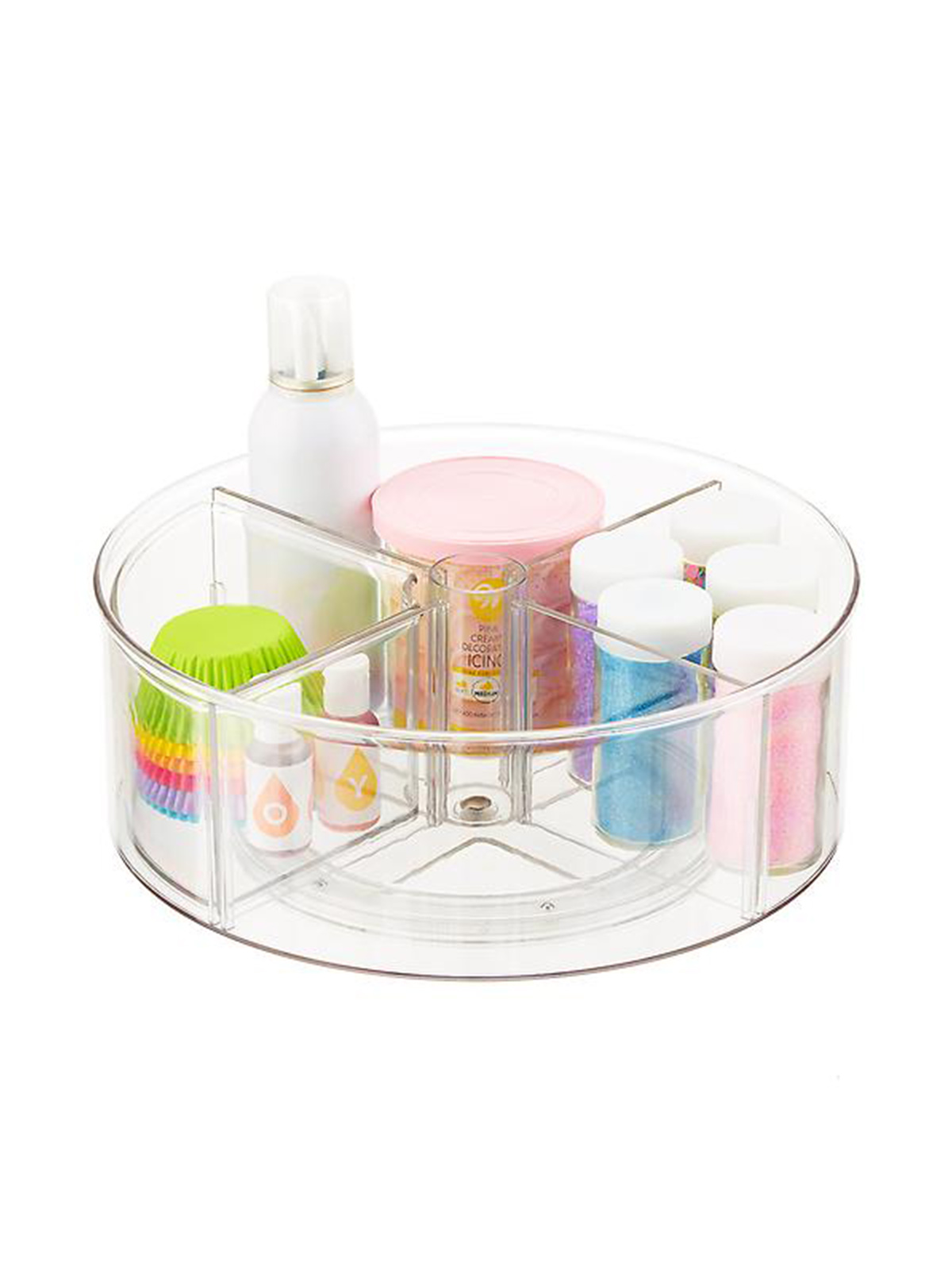 The Home Edit Container Store, clear lazy Susan with dividers