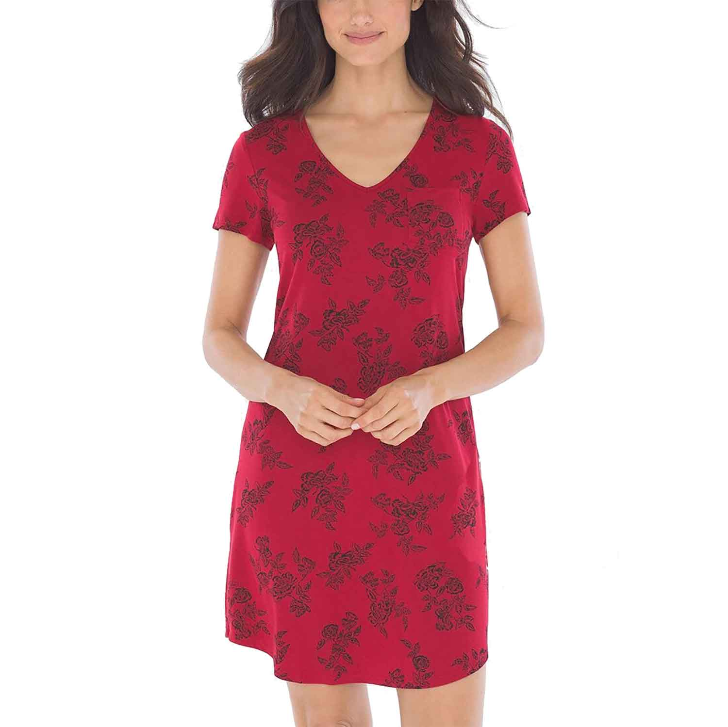 Cool Nights Short Sleeve Sleepshirt Lace Floral Red