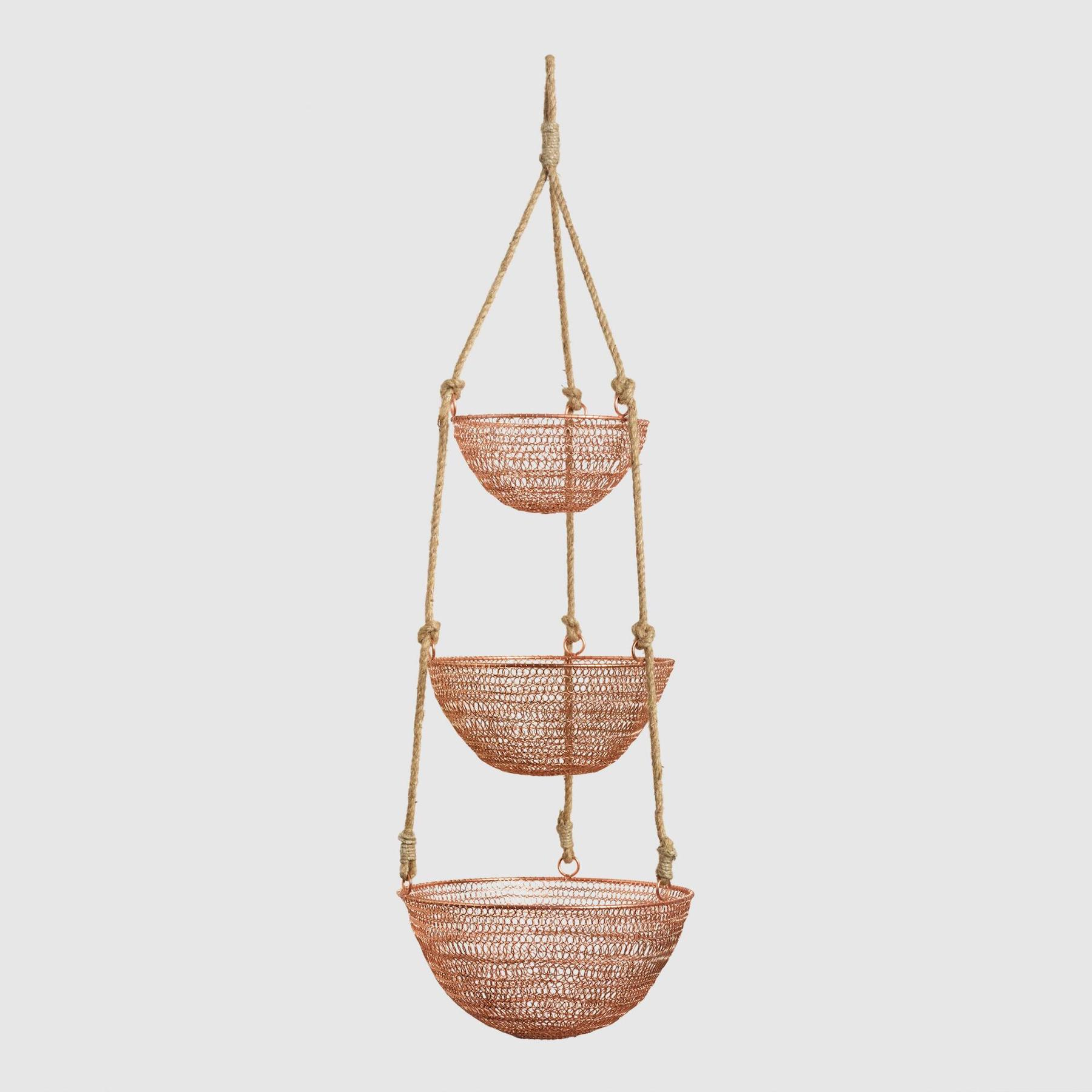 Copper and Rope 3-Tier Hanging Baskets for fruits