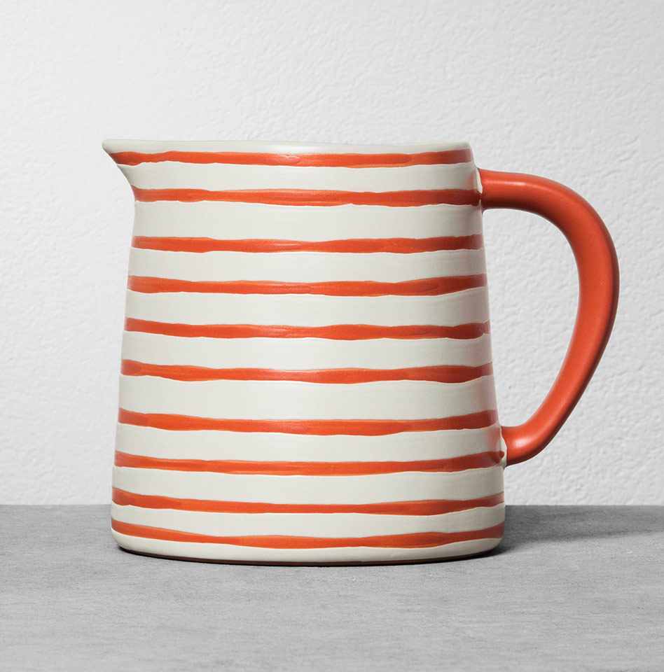 Stoneware Pitcher in Coral Stripe