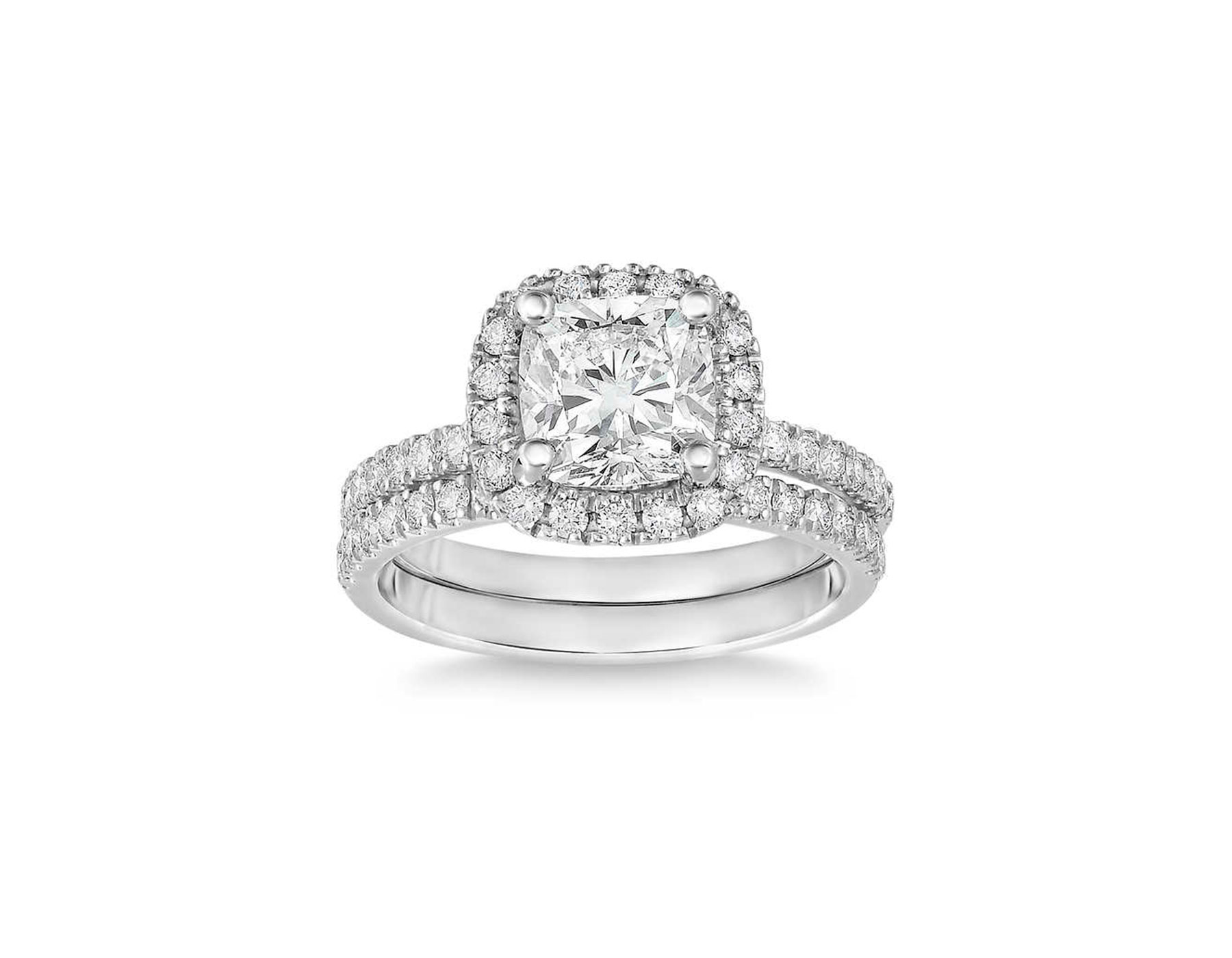costco cushion cut diamond wedding ring set