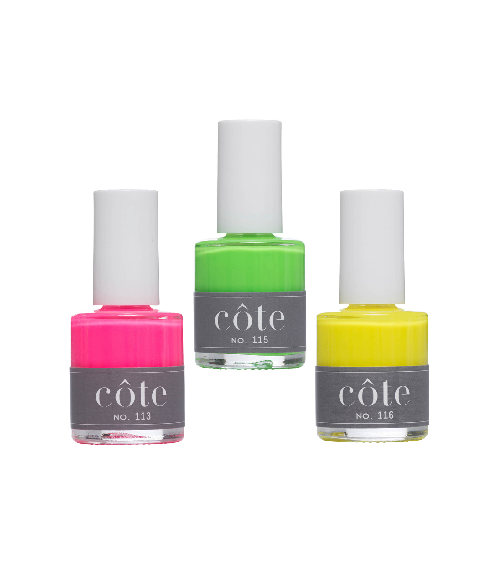 Côte Nail Polish in Nos. 113, 115, and 116