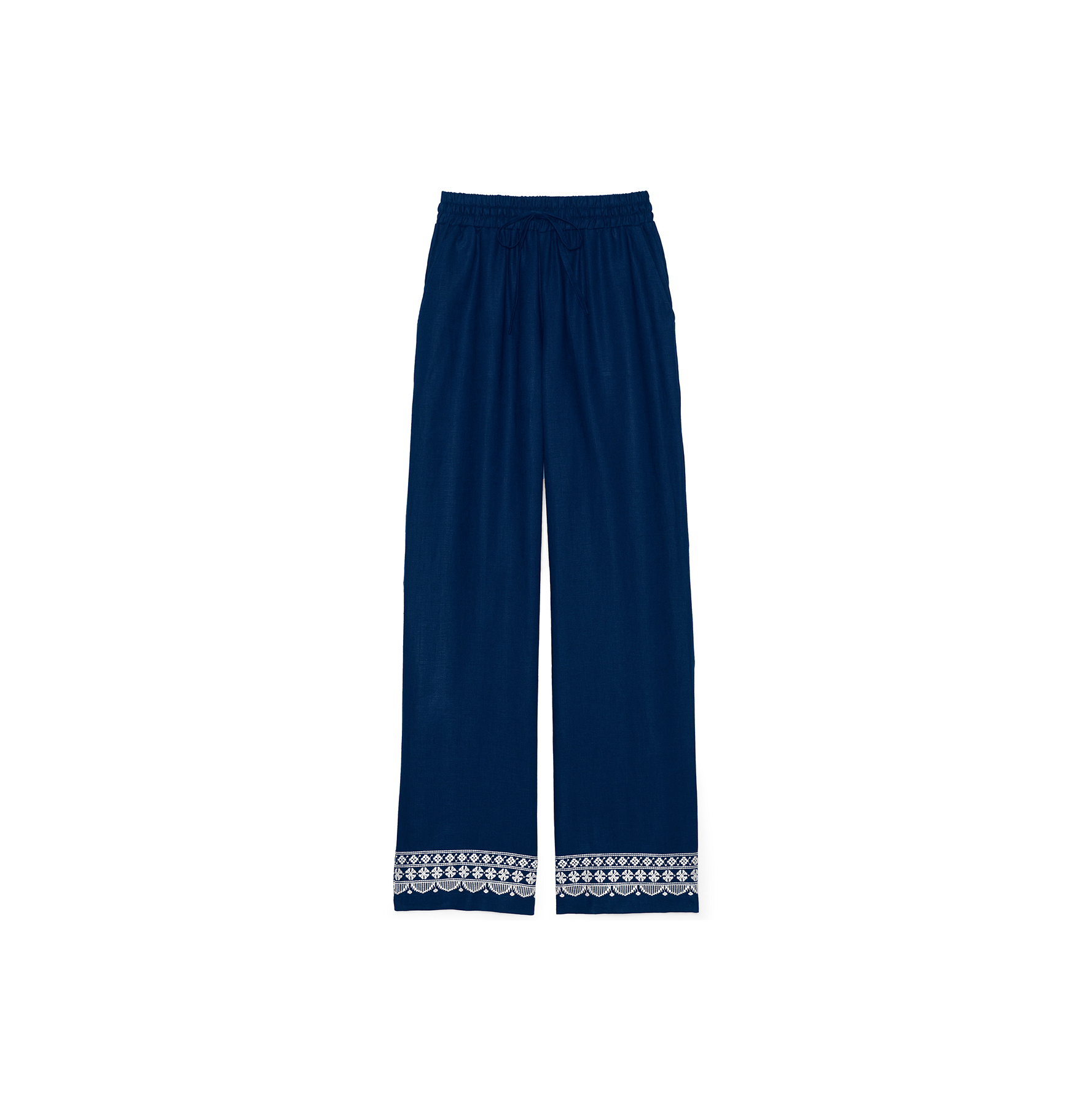 Embroidered Linen Cover-up Pants