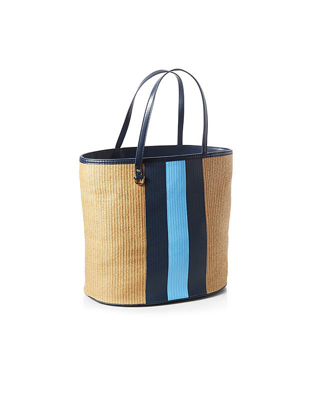 Crate & Barrel x Draper James Striped Straw Tote