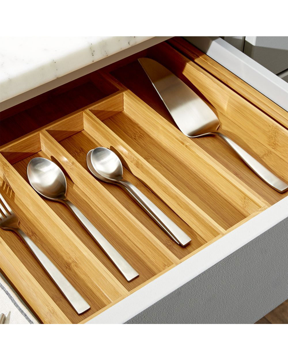 Crate and Barrel Expandable Bamboo Flatware Tray