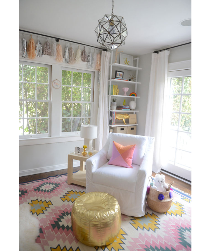 Child's room with mix of pastels and metallics