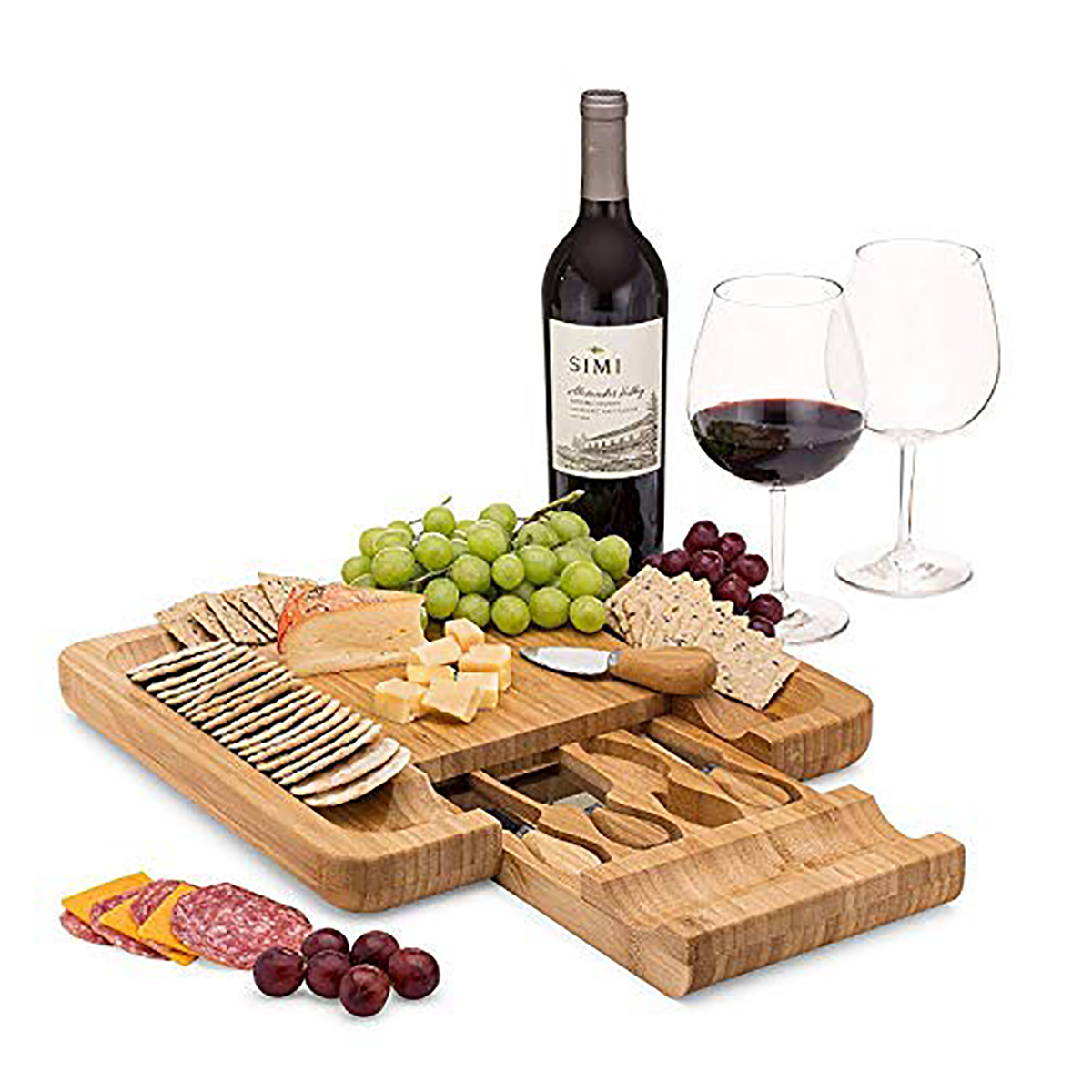 Amazon Bamboo Cheese Board Set With Cutlery In Slide-Out Drawer